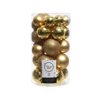 Boules de Noël or mat et brillant tailles assorties boite de 30 212518