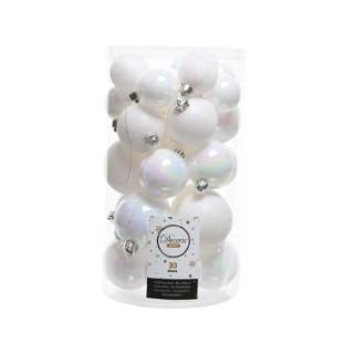 Boules de Noël blanc mat et brillant tailles assorties boite de 30 249890