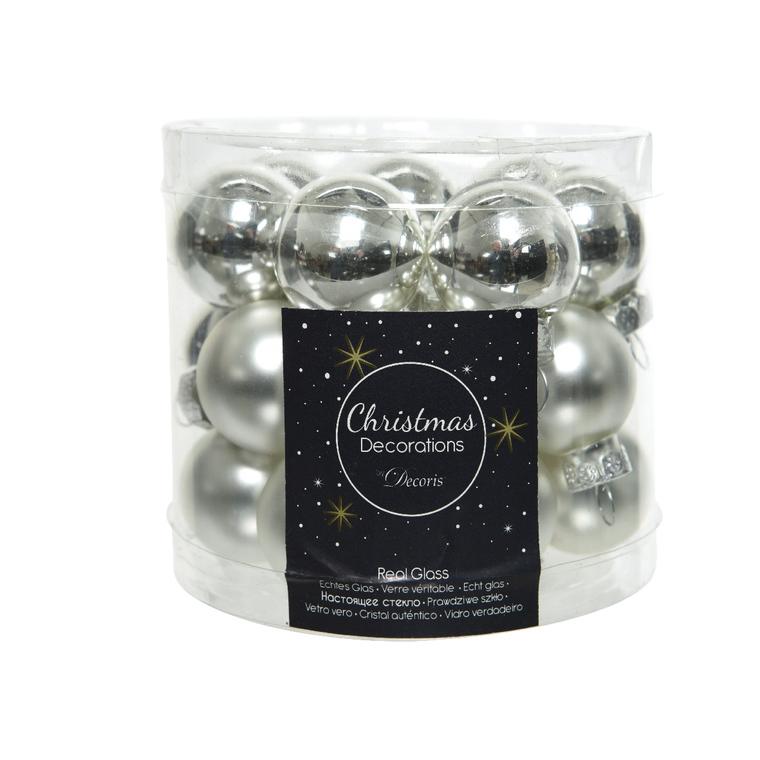Boite de 24 mini-boules en Verre argent brillant et mat – Ø 2,5 cm
