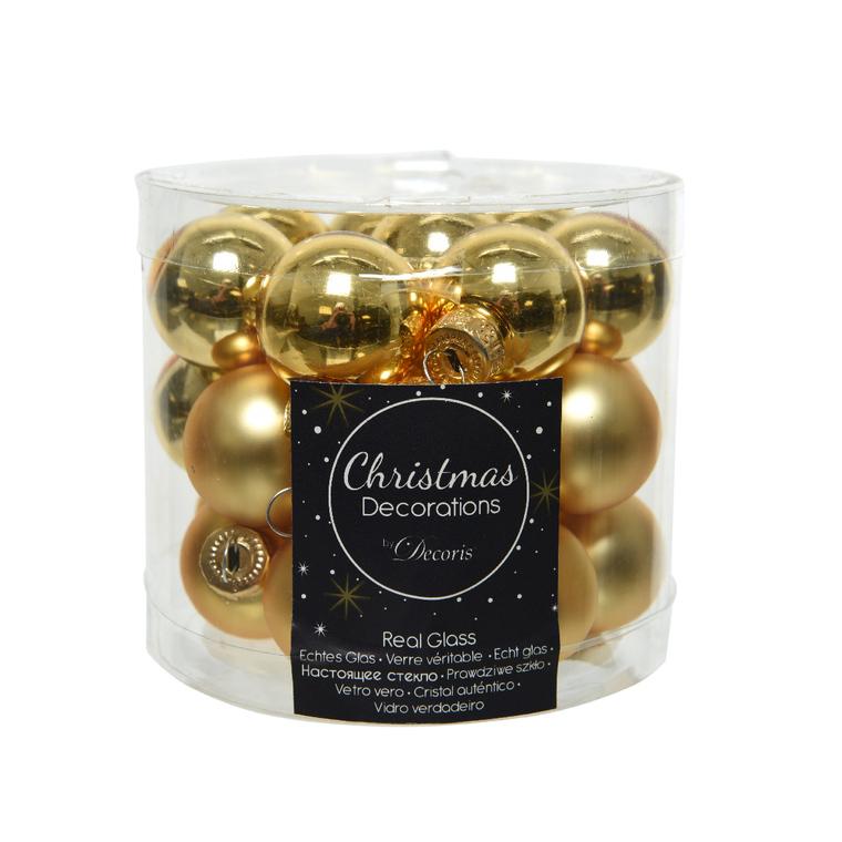 Boîte de 24 mini-boules en Verre Or clair brillant et mat – Ø 2,5 cm 316534