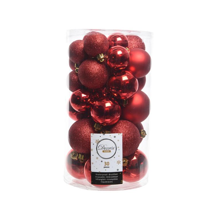 Boules de Noël rouge mat et brillant tailles assorties boite de 30