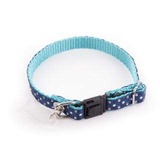 Collier pour chat bleu à pois blancs 120225