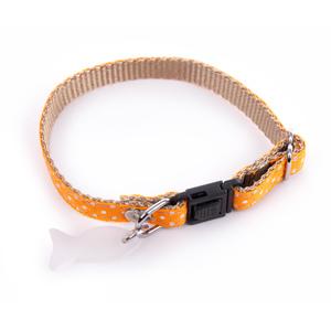 Collier pour chat orange à pois blancs 120226