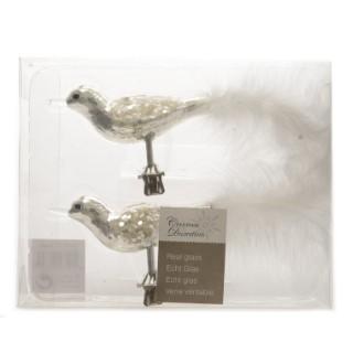 Oiseau sur clip Argent et blanc 9 cm 122357