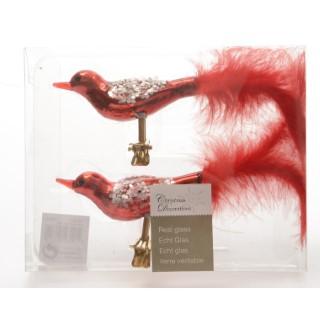 Oiseau sur clip Rouge Noël 9 cm 122358