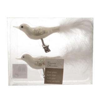 Oiseau sur clip blanc d'hiver avec plume h 9cm 122360