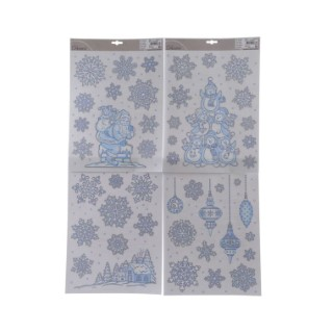 Décoration de fenêtre bleu et argent 4 sets assortis 122455