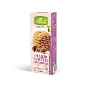 Biscuits Plaisir noisette bio nappé chocolat au lait en boîte de 130 g 129090