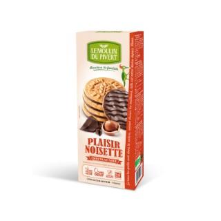 Biscuits Plaisir noisette bio nappé chocolat au lait en boîte de 130 g 129091