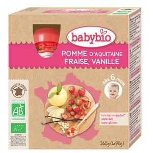 Gourdes Pomme Fraise Vanille bio dès 6 mois - 4 x 90 gr 135600