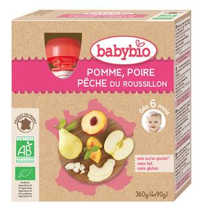 Gourdes Pomme Poire Pêche bio dès 6 mois - 4 x 90 gr 135605
