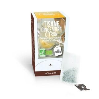 Tisane au gingembre et au citron bio en boite de 20 sachets 154041