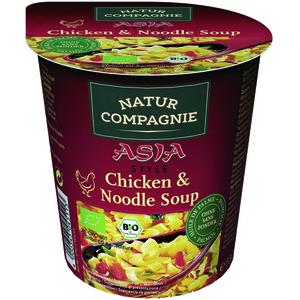 Soupe Asia au poulet et nouilles bio en bol rouge de 55 g 155546
