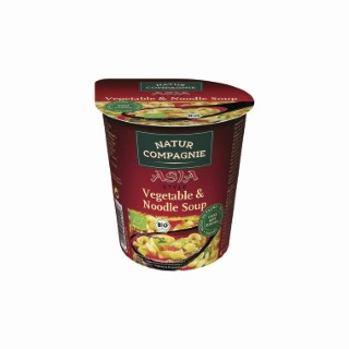 Soupe Asia aux légumes et nouilles bio en bol rouge de 55 g 155547