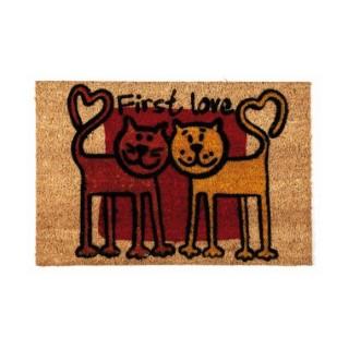 Paillasson Friends en fibres de coco rouge et jaune - 60 x 40 cm 160301