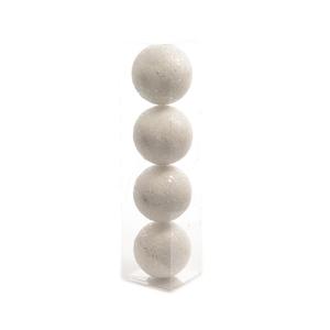 Boîte de 4 boules de Noël polystyrène blanc decors paillettes D 8cm 173118