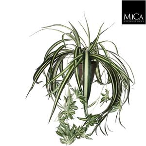 Chlorophytum artificiel vert en pot gris L45 x Ø 45 cm 174615