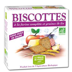Biscottes complètes aux graines de lin bio en boîte de 270 g 196513