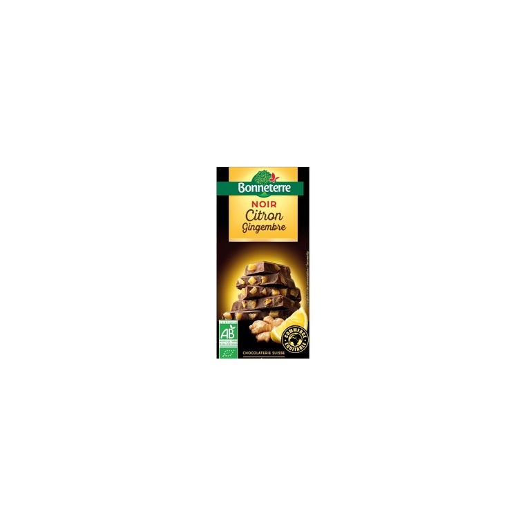 Chocolat noir citron gingembre 100 g 100320