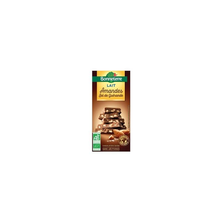 Chocolat lait amandes sel de guerande 100 g BONNETERRE 100327