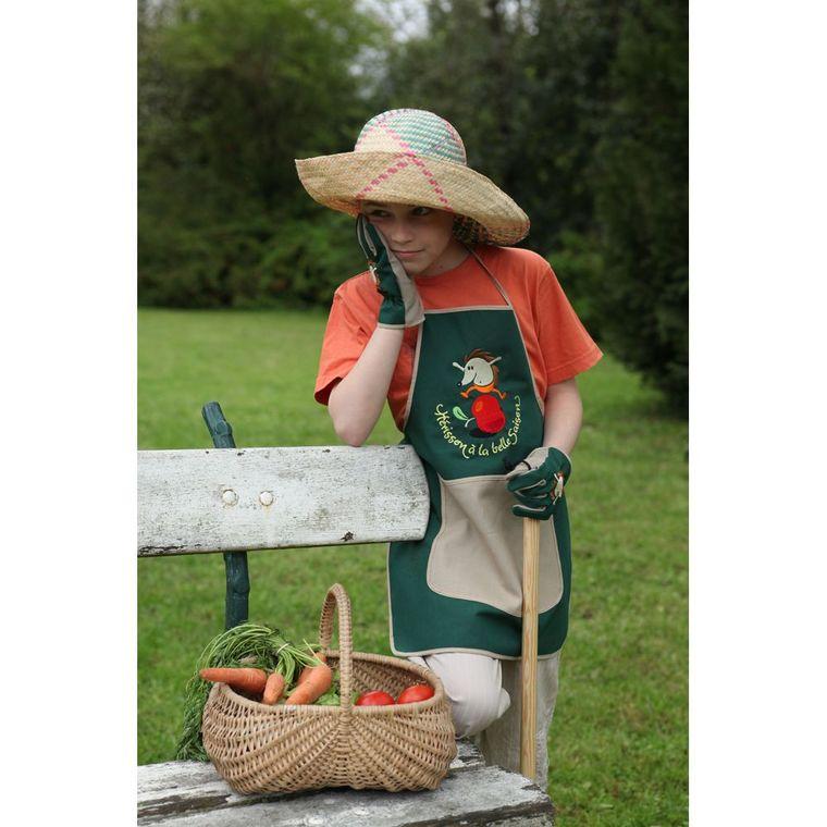 Tablier de jardin pour enfant broderie hérisson 101149