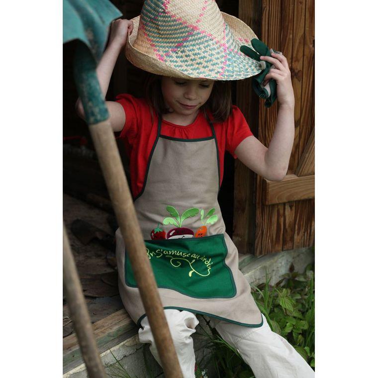 Tablier de jardin pour enfant broderie radis 101150