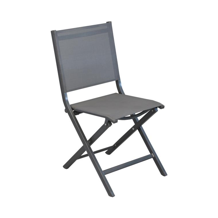 Chaise de jardin pliante en aluminium et textile Gris 90x45x52 cm