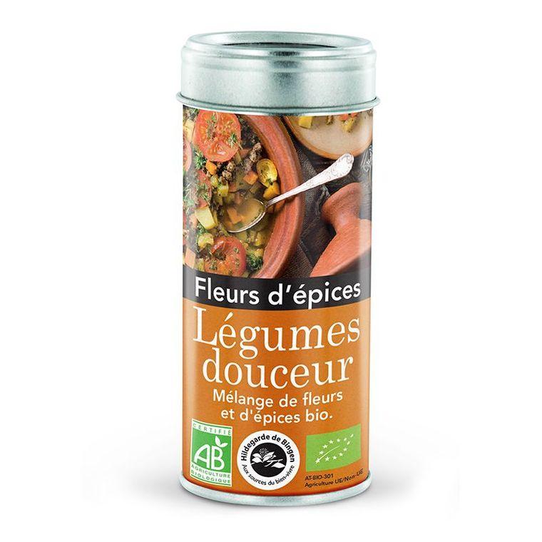 Fleurs d'épices pour légumes douceur bio en tube orange de 45 g
