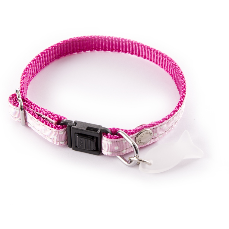 Collier pour chat rose à pois blancs 120227