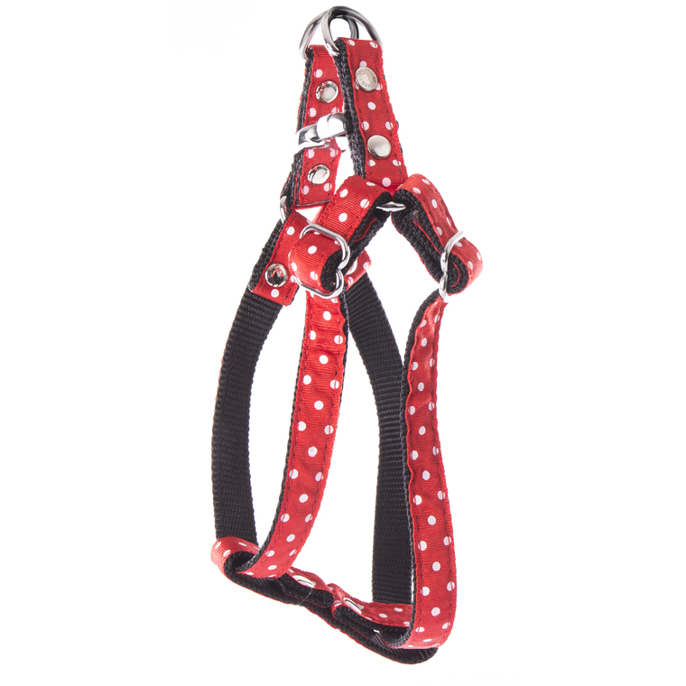 Harnais baudrier Pois pour chien coloris rouge - XS 120253