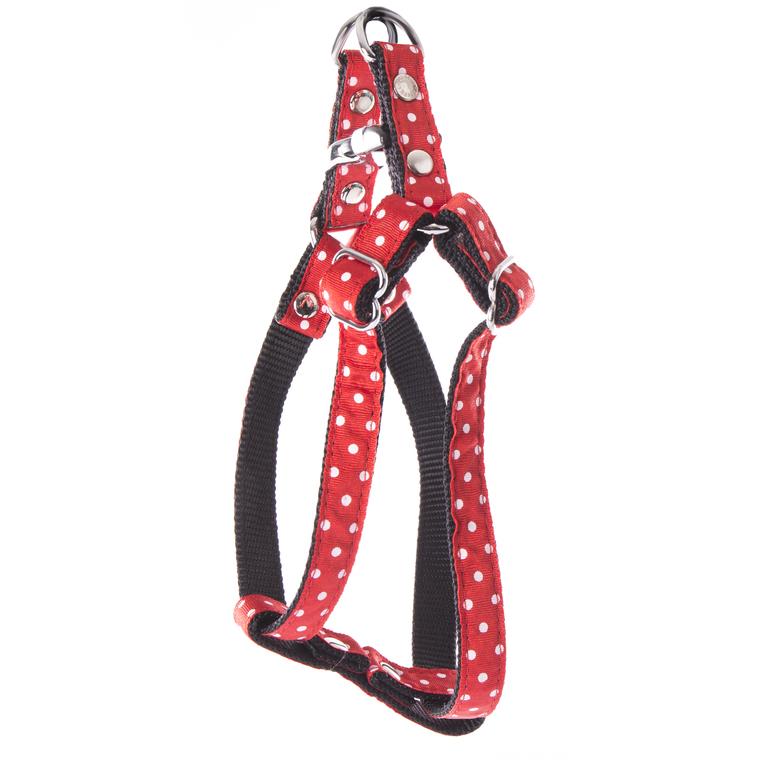 Harnais baudrier Pois pour chien coloris rouge - S 120260