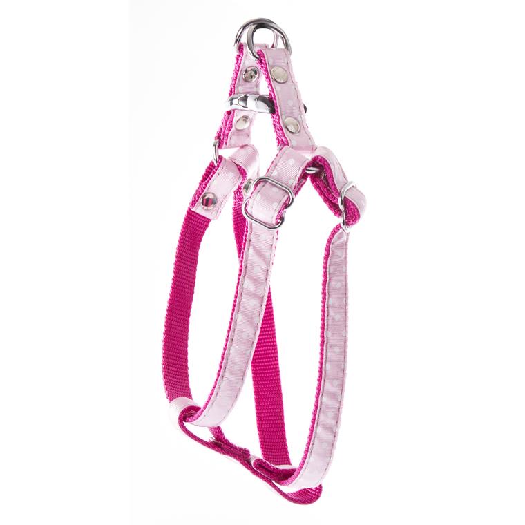 Harnais baudrier Pois pour chien coloris rose - S 120264