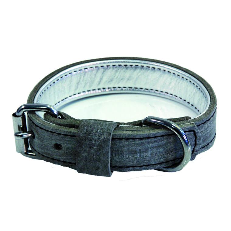 Collier en cuir Dakota gris pour chien - 45 cm 120389