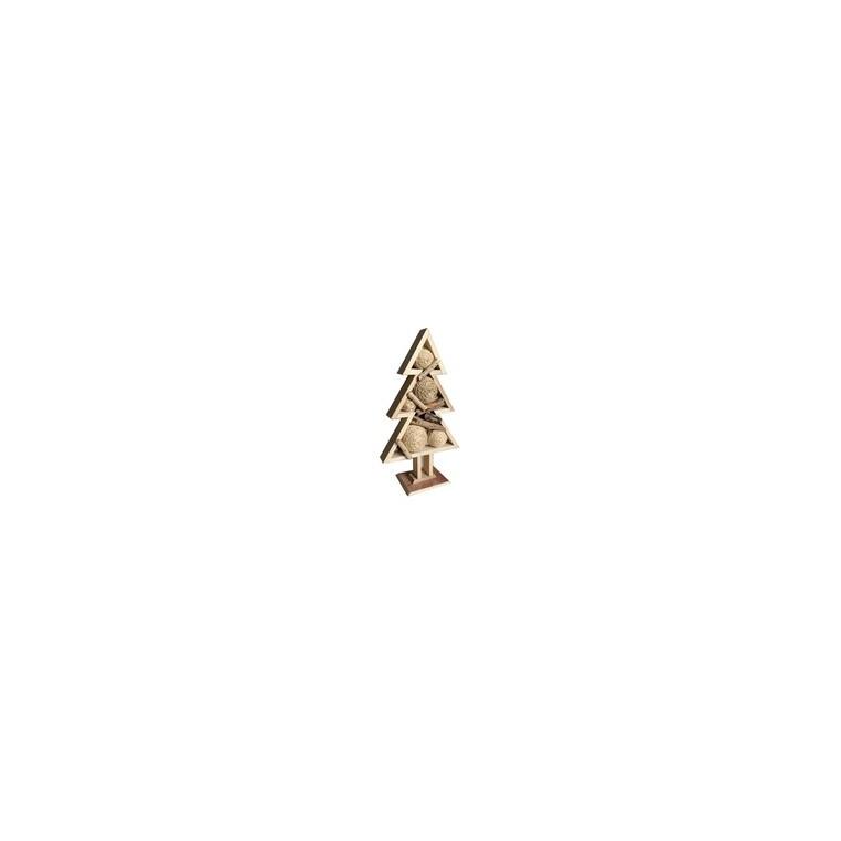 Sapin décoratif en bois avec boules de Noël 62 cm