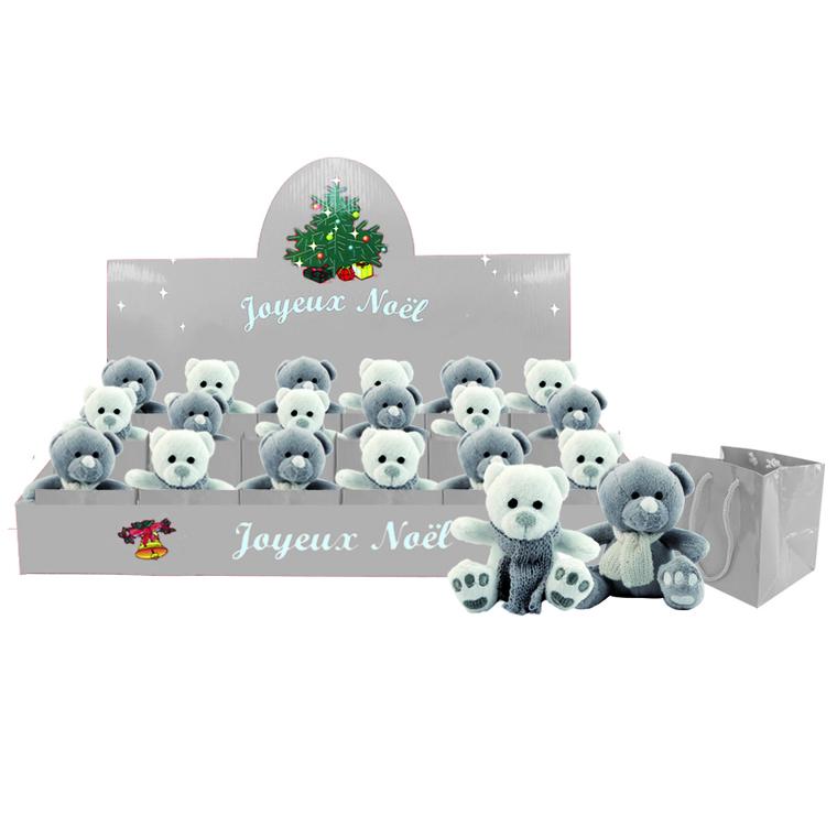 Décoration de Noël Ours à suspendre Blanc ou Gris avec sachet 121314