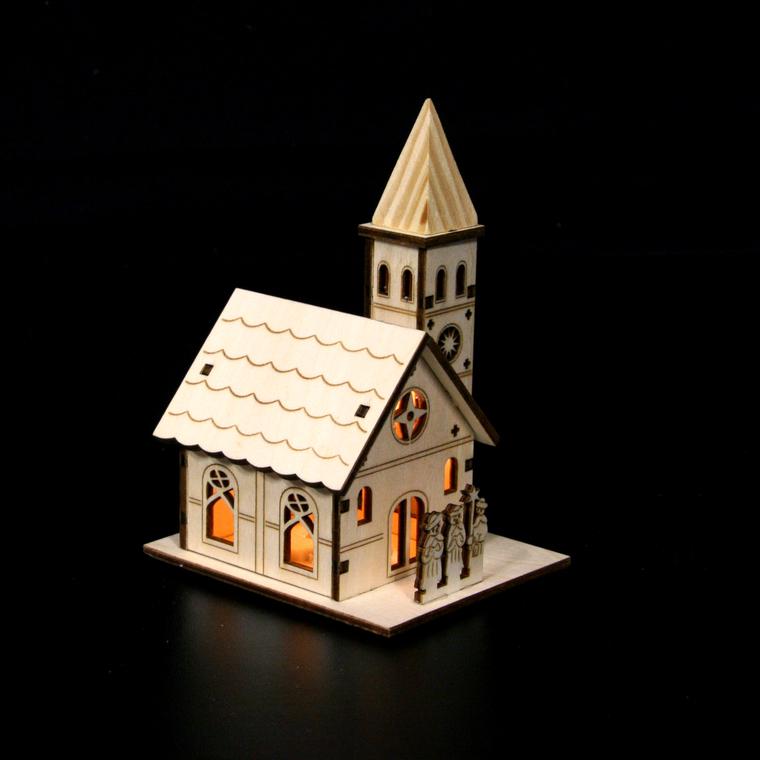 Eglise miniature en bois petit modèle 122014