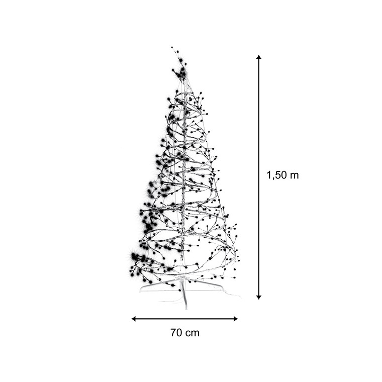 Sapin lumineux argent 150 cm