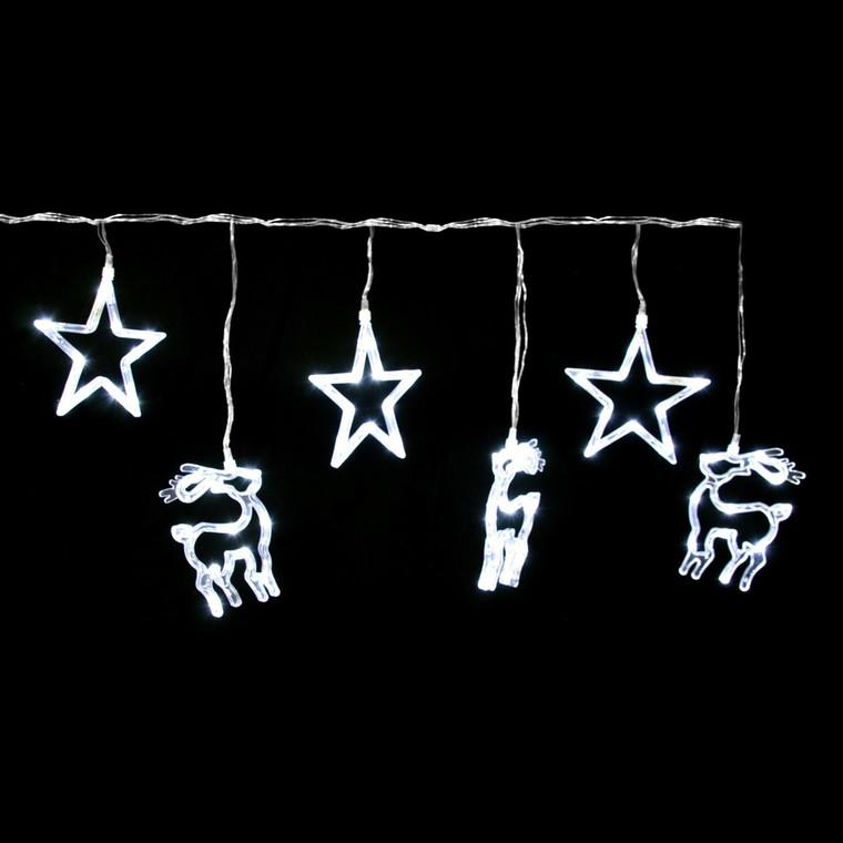 Rideau lumineux 3 étoiles et 3 rennes 2 m