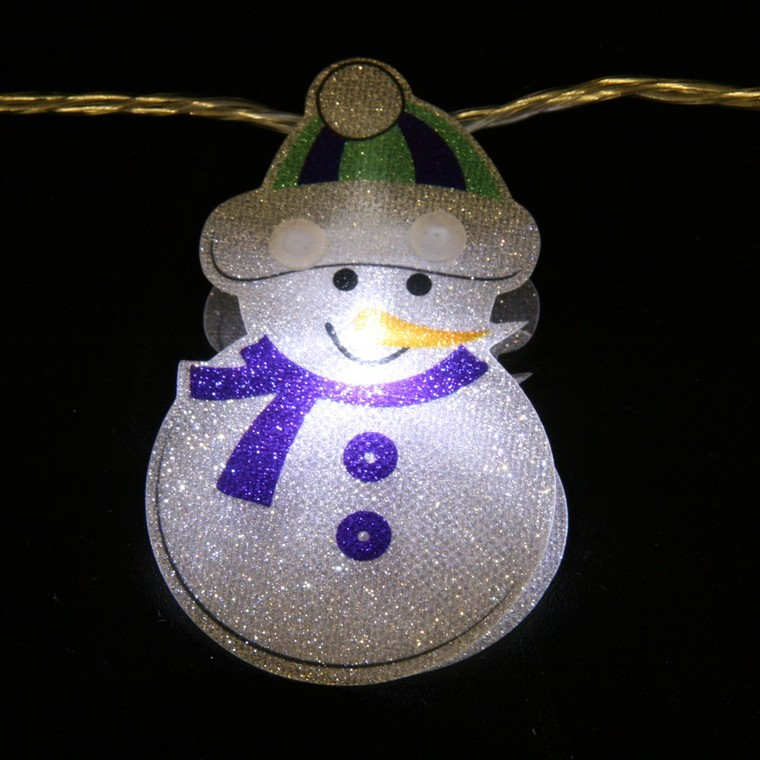 Guirlande lumineuse Bonhomme de neige pailleté 3 m 122053