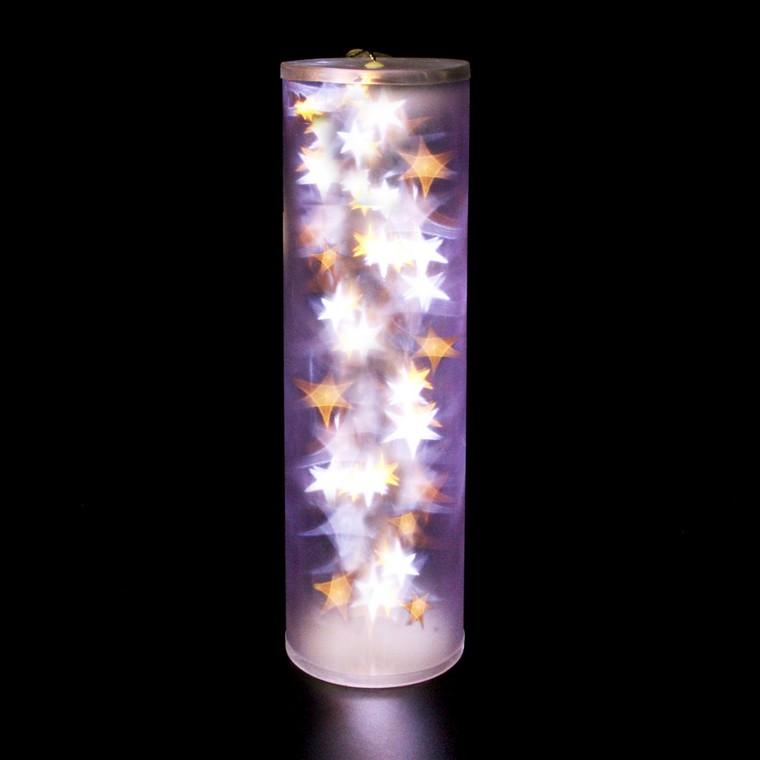 Cylindre holographique blanc et blanc chaud 48 cm