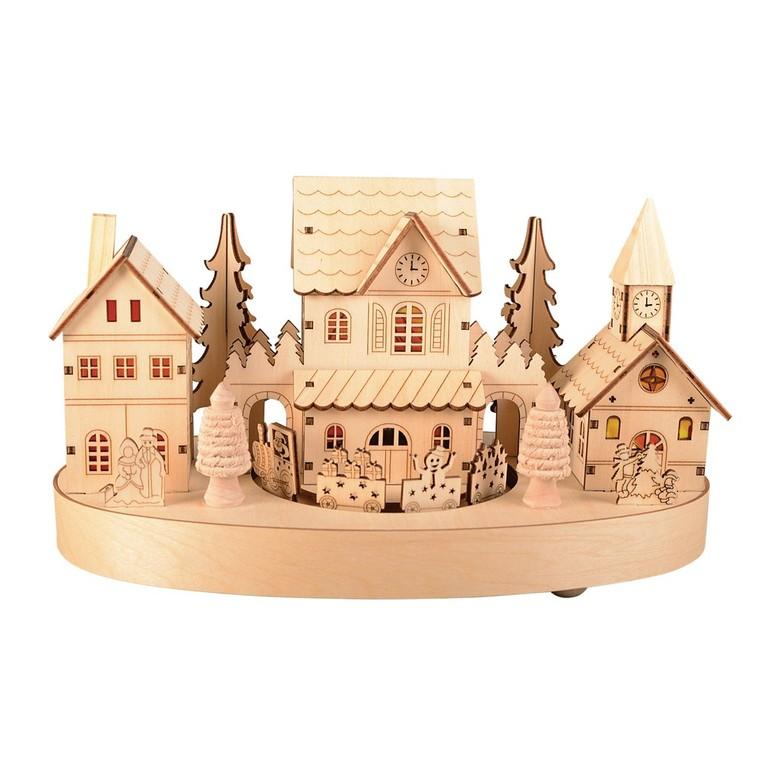 Village miniature en bois et train led blanc chaud 122162