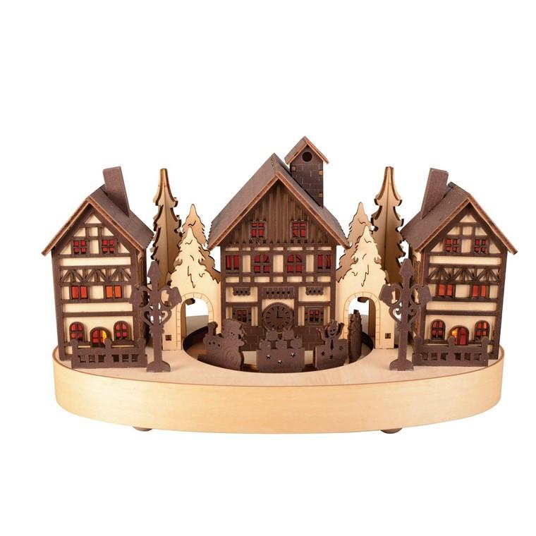 Village miniature en bois et train 2 couleurs
