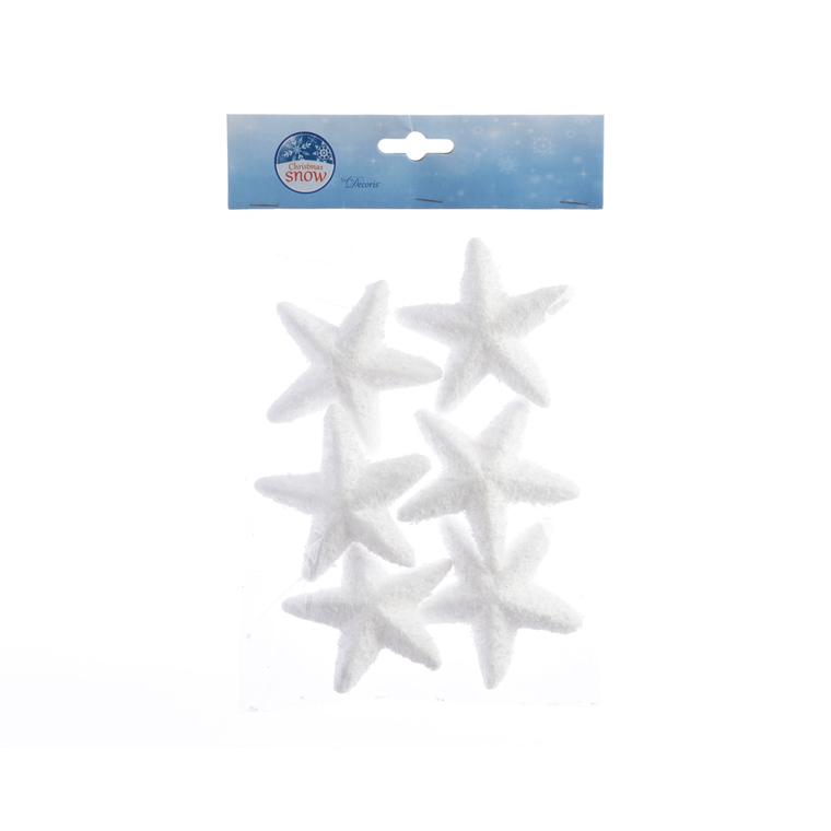 Etoiles de neige blanches lot de 6 D 8cm