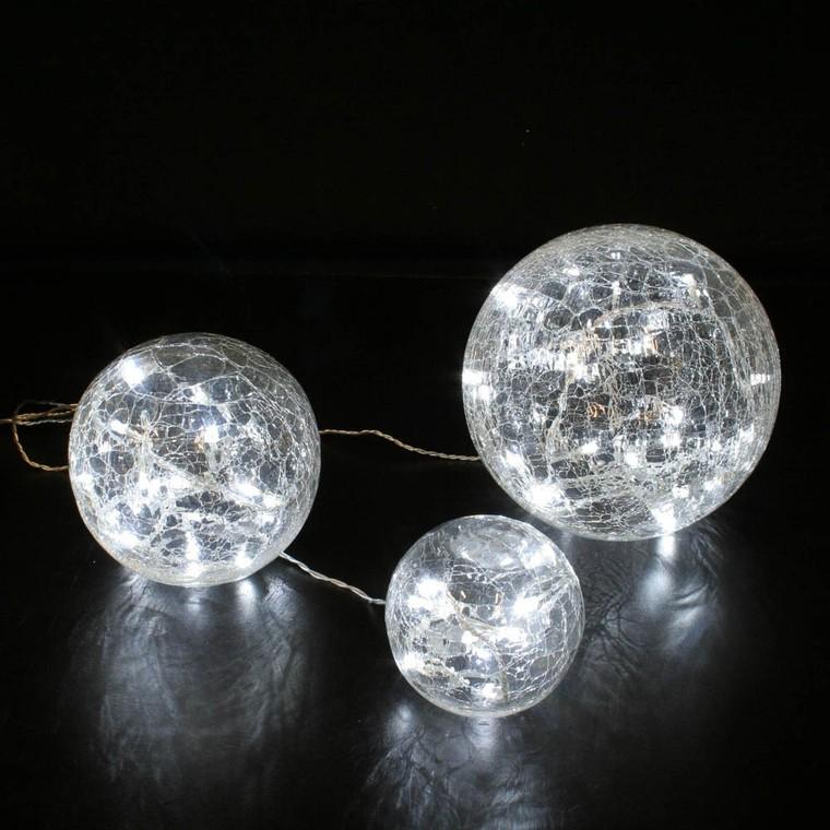 Set 3 boules lumineuses en verre craquelé transparent led blanc 122805