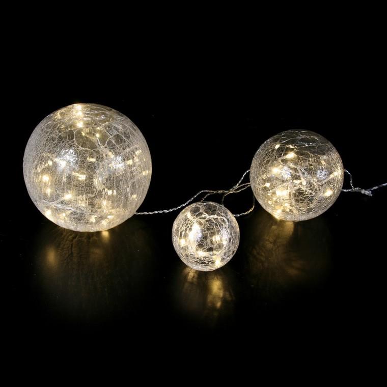 Set 3 boules lumineuses en verre craquelé transparent led blanc chaud 122807