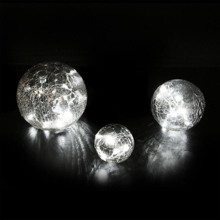 Set 3 boules lumineuses en verre craquelé fumé led blanc 122810