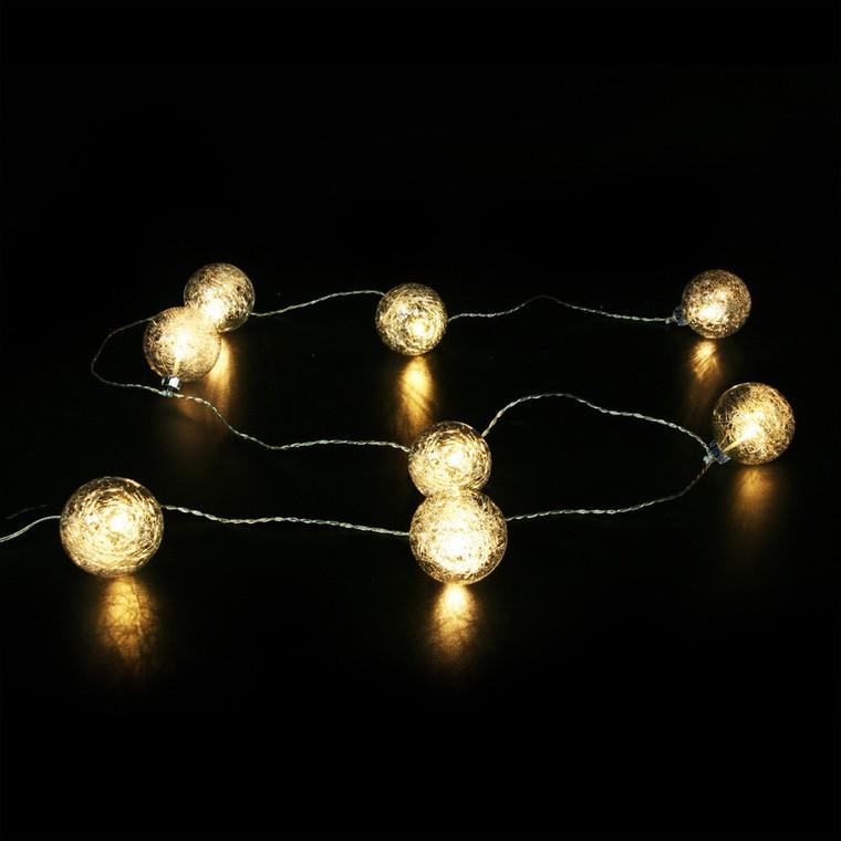 Guirlande lumineuse boules en verre et fil de soie 210 cm