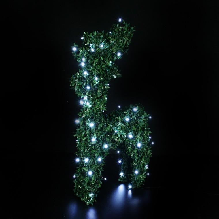Renne lumineux debout buis vert 80 LED 48 cm 122820