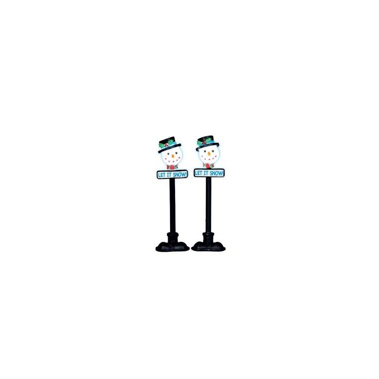 2 lampadaires illuminés bonhomme de neige 6 x 2 x 10 cm