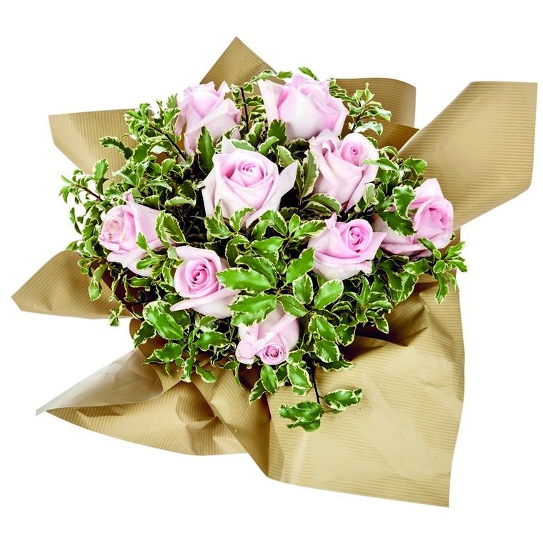 Bouquet bulle Roses et feuillage